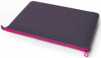 Microfiber Zip Sleeve - Graphite/Raspberry