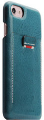 SLG D6 Italian Minerva Box Leather Back Case for iPhone 8 / 7 - Blue
