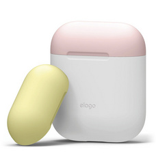 Elago Airpods Duo Silicone Case - White with Pink/Yellow top