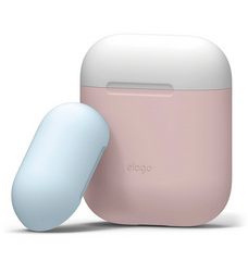 Elago Airpods Duo Silicone Case - Pink with Classic White/Pastel Blue top
