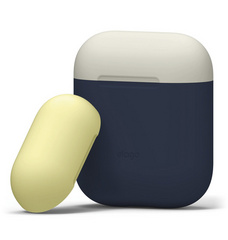 Elago Airpods Duo Silicone Case - Jean Indigo with Classic White/Yellow top