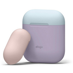 Elago Airpods Silicone Case - Lavender with Pastel Blue/Pink top