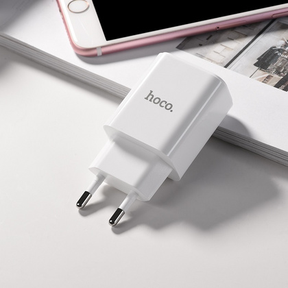 HOCO Dual Port Wall Charger with digital display - White