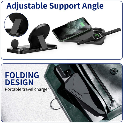 Wireless Multi Charging 3in1 Foldable Stand - Black
