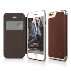 S6 Leather Flip Case - Brown / Champagne Gold