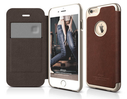 Elago S6 Leather Apple Logo Cutout Flip Case for iPhone 6/6s - Brown / Champagne Gold