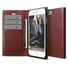S6 Genuine Leather Wallet Case - Burgundy