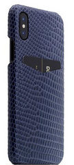 SLG D3 Italian Lizard Leather Back Case for iPhone X - Blue