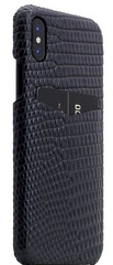 SLG D3 Italian Lizard Leather Back Case for iPhone X - Black