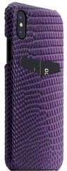 SLG D3 Italian Lizard Leather Back Case for iPhone X - Purple
