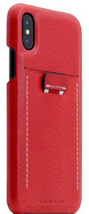 SLG D6 Italian Minerva Box Leather Back Case for iPhone X - Red