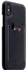 SLG D6 Italian Minerva Box Leather Back Case for iPhone X - Black