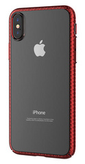 Devia Luxurious Glimmer Case for iPhone X - Transparent/Red