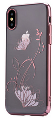Devia Crystal Lotus Case for iPhone X - Transparent/Rose Gold