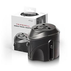 Tripshell International All-in-One Travel Plug Adapter w/ Surge Protection - Black