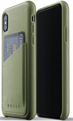 Mujjo Full Leather Wallet Case for iPhone X/Xs - Olive Green