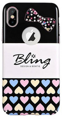 X-Fitted Crystal Bling Secret Heart Case for iPhone X - White