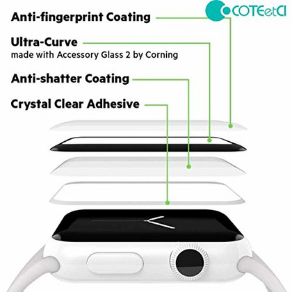 COTEETCI 4D Full Cover Glass Screen Protector for Apple Watch Series 44mm