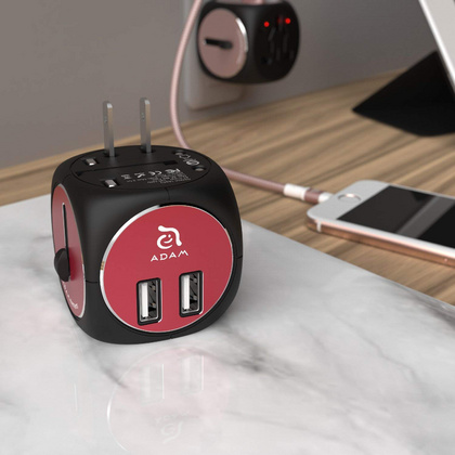 Adam Elements Universal Travel Adapter - Black/Red