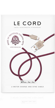 Le Cord Ghost Recyclable Cable - Ghost Net Plum 2m