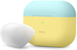 Elago Airpods Pro DUO Silicone Case - Yellow/Coral Blue-White