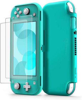 TomToc Nintendo Switch Lite Silicone Case + Glass - Turquise