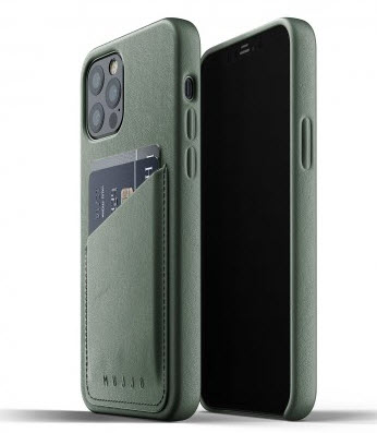 MUJJO Pocket Leather Case for iPhone 12/PRO - Satin Green