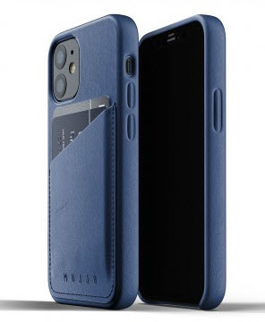 MUJJO Pocket Leather Case for iPhone 12 Mini - Blue