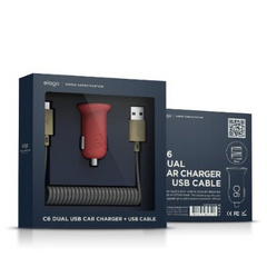 C6 Dual USB Car Charger + Micro USB Cable - Red