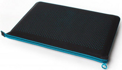 Microfiber Zip Sleeve - Black/Aqua