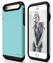 Elago S6 Duro Case for iPhone 6/6s- Matt Black / Coral Blue