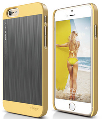 Elago S6 Outfit Matrix Case for iPhone 6/6s - Creamy Yellow / Dark Gray