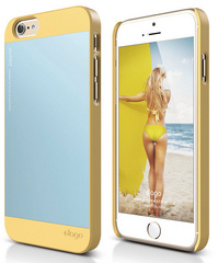 Elago S6 Outfit Case for iPhone 6/6s - Creamy Yellow / Cotton Candy Blue