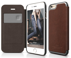 S6 Leather Flip Case - Brown / Metallic Dark Gray