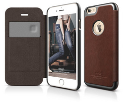 S6 Leather Apple Logo Cutout Flip Case - Brown / Metallic Dark Gray