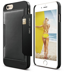 S6 Outfit Genuine Leather Pocket Case - Black / Black