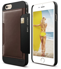 S6 Outfit Genuine Leather Pocket Case - Black / Brown