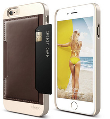 S6 Outfit Genuine Leather Pocket Case - Champagne Gold / Brown