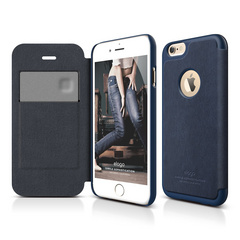 S6 Leather Apple Logo Cutout Flip Case - Jean Indigo / Jean Indigo