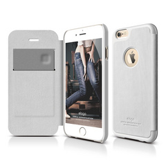 S6 Leather Apple Logo Cutout Flip Case for iPhone 6 ONLY - White / White