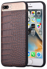 Comma Croco Leather Case for iPhone 7/8 Plus - Brown