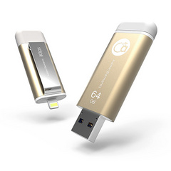 iKlips 64GB Lightning / USB 3.0 Dual-Interface Flash Drive - Gold