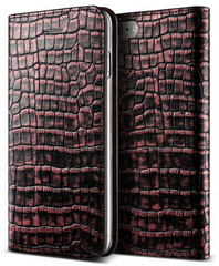 Genuine Croco Diary Case - Plum Red