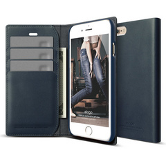 S6 Genuine Leather Wallet Case - Jean Indigo