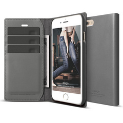 S6 Genuine Leather Wallet Case - Dark Gray