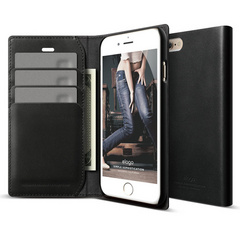 S6 Genuine Leather Wallet Case - Black