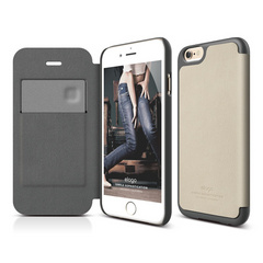 S6 Leather Flip Case - Beige / Dark Gray