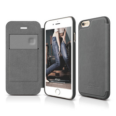 S6 Leather Flip Case - Dark Gray / Dark Gray
