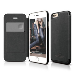 S6 Leather Flip Case - Black / Black