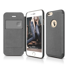S6 Leather Apple Logo Cutout Flip Case - Dark Gray / Dark Gray